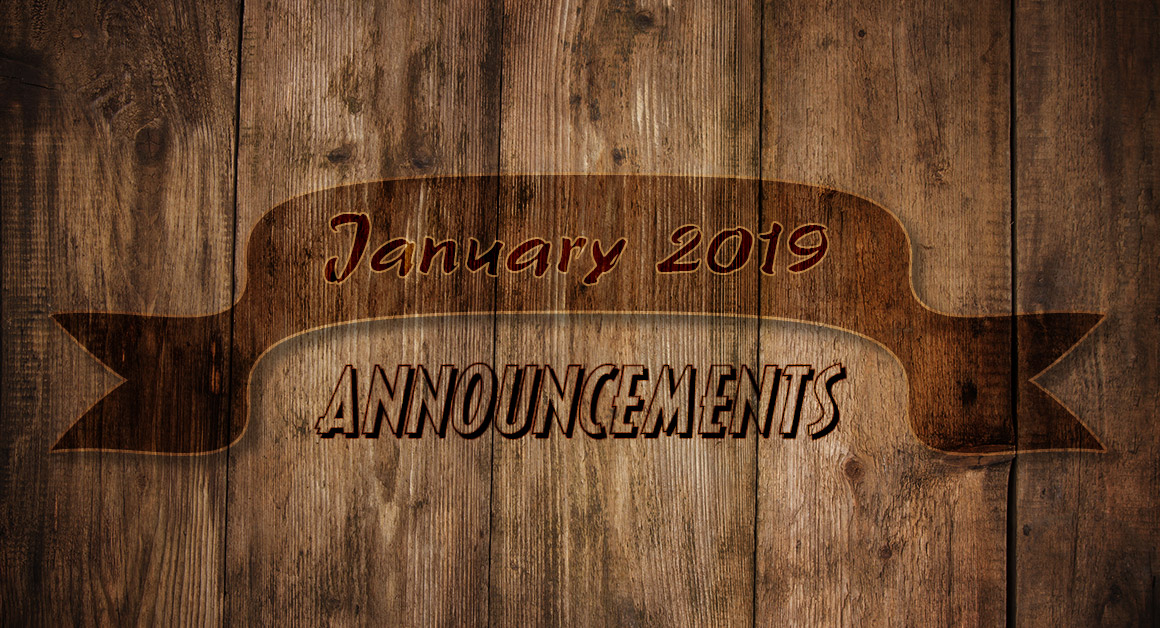 January 2019 Announcements