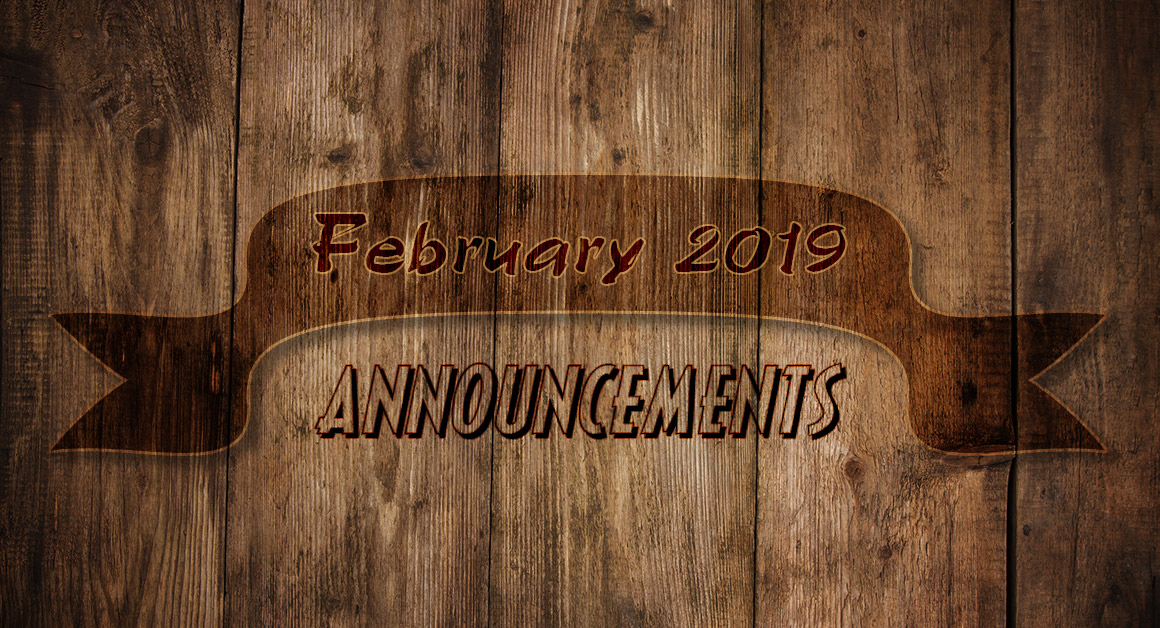 February 2019 Announcements
