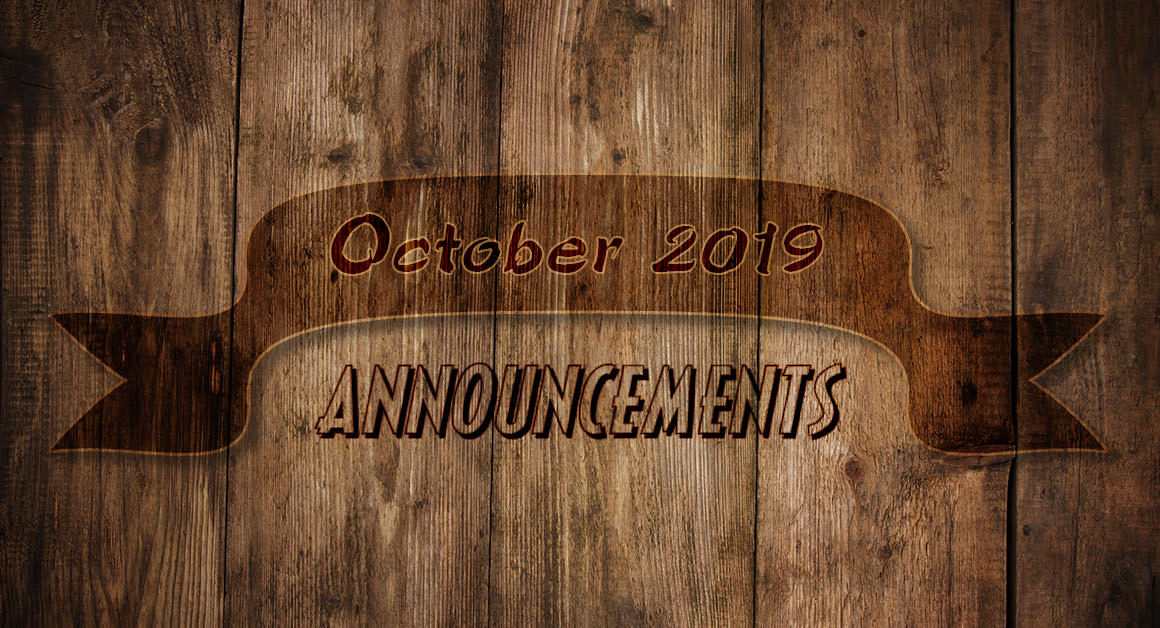October 2019 Announcement